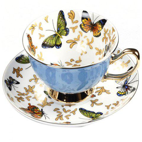 Coffee Cup And Saucer Set Color Porcelain Butterfly Bone Afternoon Teacup - BLUE