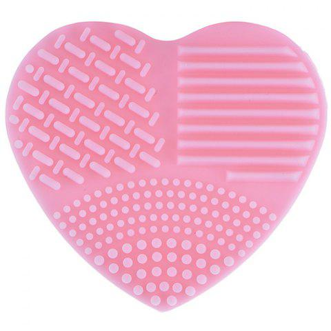 Silicone Heart-shaped Wash Pad Beauty Cleaning Makeup Tool - PINK