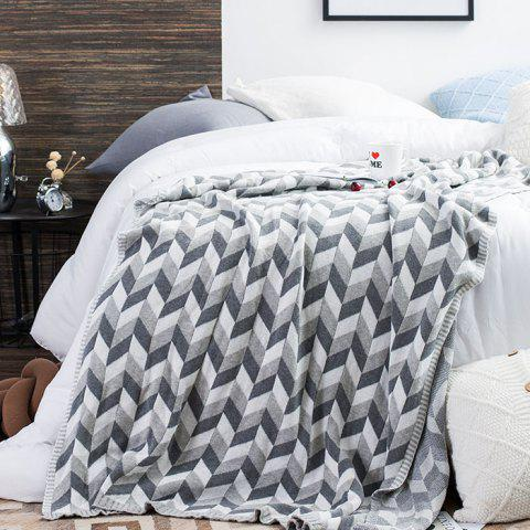 Cotton Knitted Warm Blanket - GRAY CLOUD