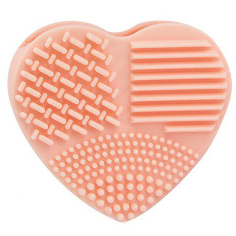 Silicone Heart-shaped Wash Pad Beauty Cleaning Makeup Tool - ORANGE