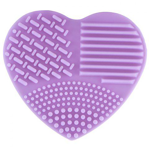 Silicone Heart-shaped Wash Pad Beauty Cleaning Makeup Tool - PURPLE