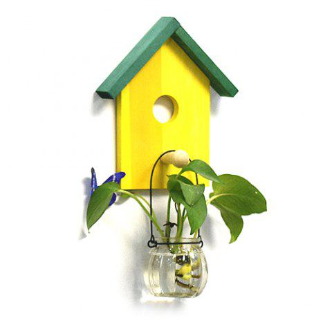 Creative Decoration Hydroponic Plant Bedroom Restaurant Wall Hanging Flower Pot - YELLOW
