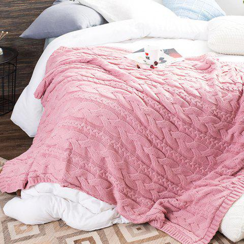 Knitted Lambskin Composite Office Knee Blanket - PINK