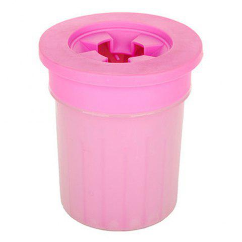 Silicone Dehydrated Husky Labrador Small Medium Dogs Pet Cleaning Foot Cup - WATERMELON PINK