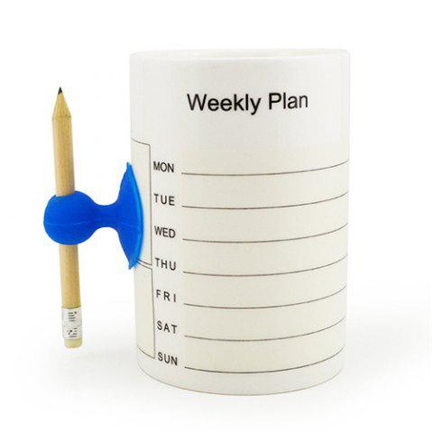 Reusable Note Cup with Pencil - WHITE WEEKLY PLAN