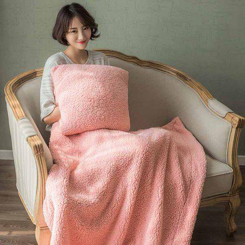 Winter Thickening Lambskin Dual-use Korean Personality Three-in-one Air Conditioning Blanket Nap Cushion - PINK