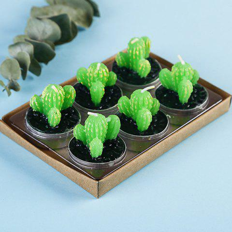 Plant Decoration Smokeless Creative Craft Candles 6pcs - GREEN CACTUS