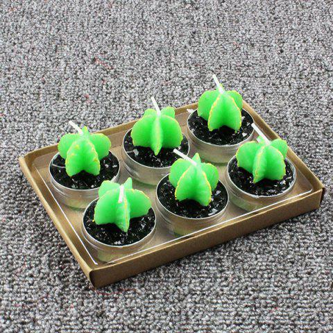 Plant Decoration Smokeless Creative Craft Candles 6pcs - GREEN CARAMBOLA