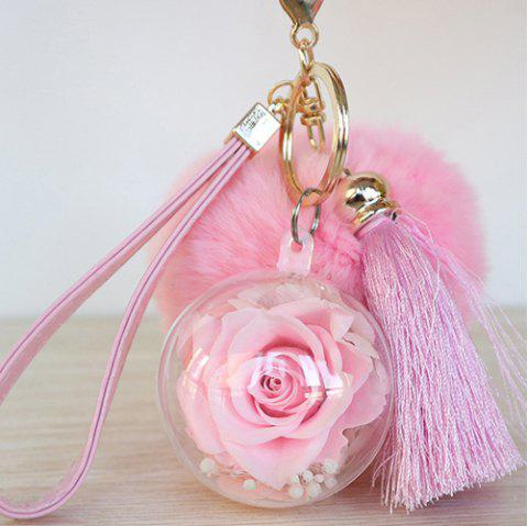 Everlasting Flower Car Hanging Keychain for Valentine's Day Christmas Birthday Gift - LIGHT PINK 5*5CM