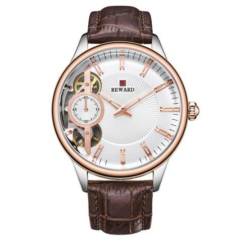 REWARD RD63091M Men's Automatic Mechanical Watch Small Seconds Belt with Box - multicolor A WHITE DIAL ROSE GOLD LETTER