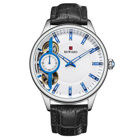 REWARD RD63091M Men's Automatic Mechanical Watch Small Seconds Belt with Box - multicolor A WHITE DIAL BLUE LETTER