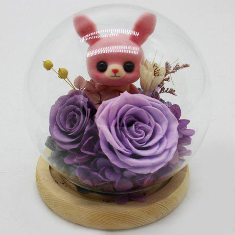 Glass Cover Creative Gifts Christmas Everlasting Flower - TYRIAN PURPLE