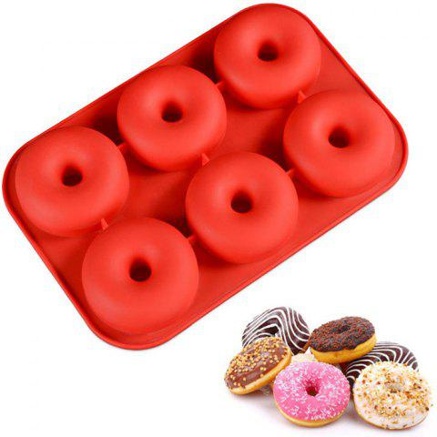 Environmentally Friendly 6 Holes Donut Mold - RED