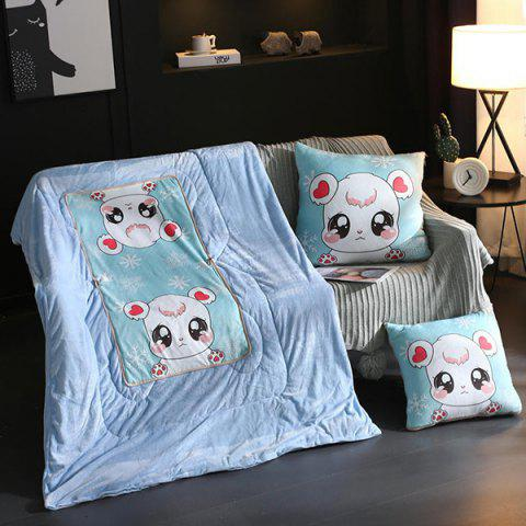 Brushed Cartoon Dual-use Car Cushion - LIGHT BLUE S