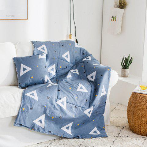 Simple Flower Cotton Dual-use 2 in 1 Blanket Pillow - BLUE GRAY