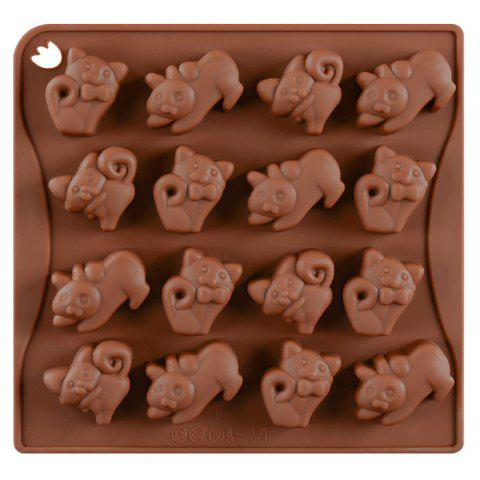 Baking DIY Silicone 16 Even Kitten Chocolate Mold - COFFEE