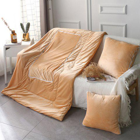 Multi-function Crystal Velvet 2 in 1 Blanket Pillow - BROWN SUGAR L