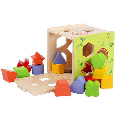 Fifteen-hole Shape Paired Intelligence Box Children Color Cognition Toy Building Blocks - BURLYWOOD