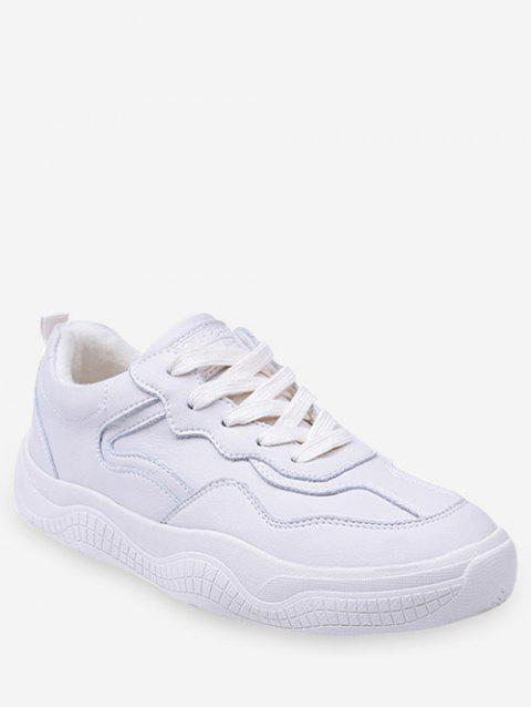 Fur Lined Lacing Casual Sneakers - WARM WHITE EU 38