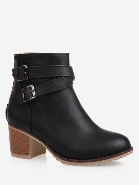 Plus Size Strap Wrap Stacked Heel Ankle Boots - BLACK EU 37