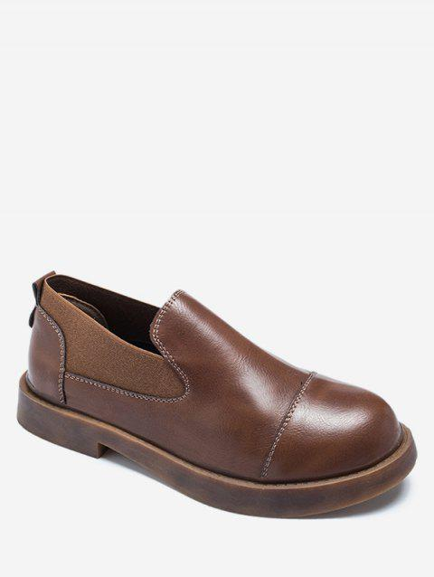 Faux Leather Slip On Flats - BROWN EU 36