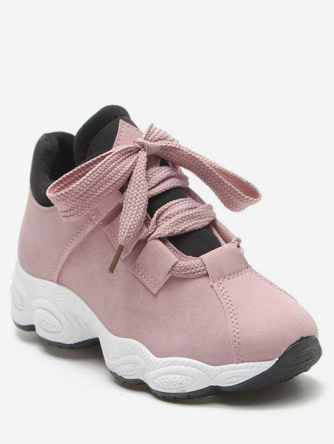 PU Leather Platform Casual Sneakers - PINK EU 38