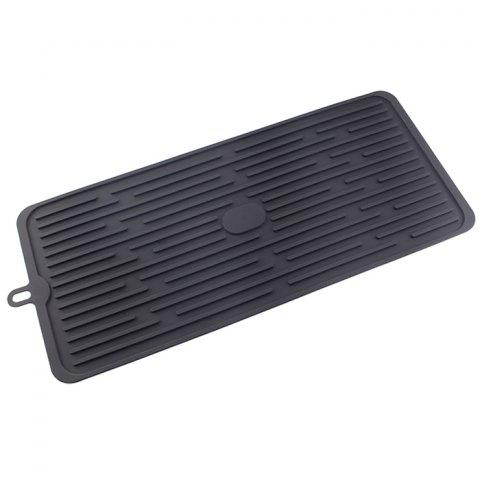 Kitchen Bar Dry Drain Pan Slip Anti-hot Anti-overflow Rack Silicone Filter Pad - BLACK