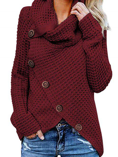 Five Buckle High Collar Pullover Solid Color Women's Sweater - RED WINE 2XL