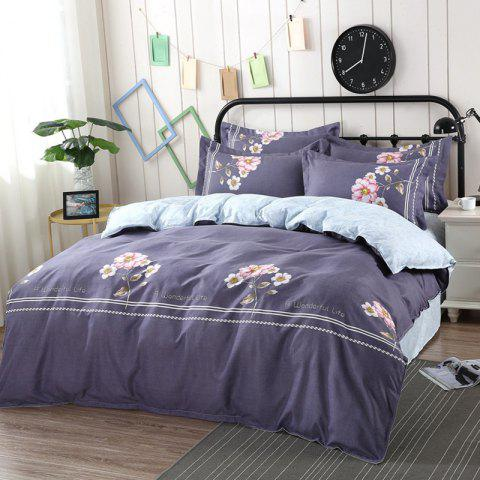 AB Version Active Twill Thickening Sanding Four-piece Plant Cashmere Bedding Package - multicolor A