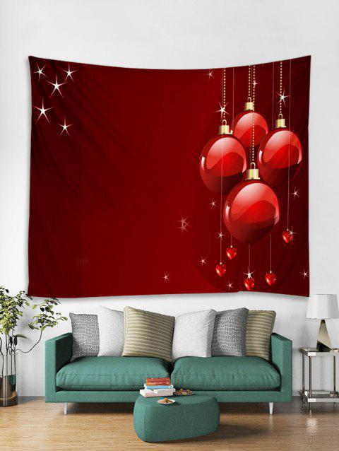 Christmas Balls Hearts Print Tapestry Wall Hanging Art - RED W91 X L71 INCH