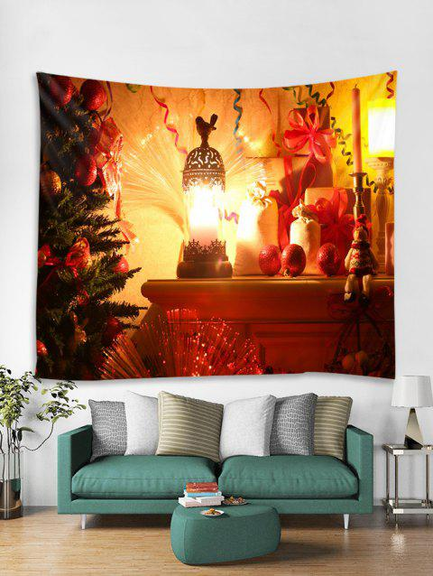 Christmas Tree Lantern Print Tapestry Wall Hanging Art Decoration - multicolor W91 X L71 INCH