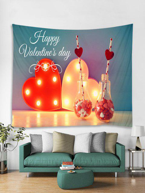Happy Valentine's Day Print Tapestry Wall Hanging Art Decoration - multicolor W91 X L71 INCH