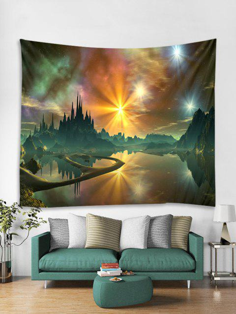 Mountains and Lakes Print Tapestry Wall Hanging Art - multicolor W59 X L59 INCH