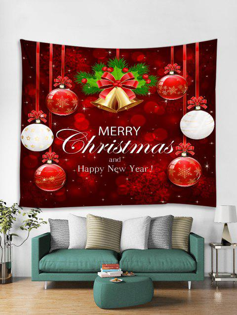 Christmas Balls Bells Print Tapestry Wall Hanging Art Decoration - RED W91 X L71 INCH
