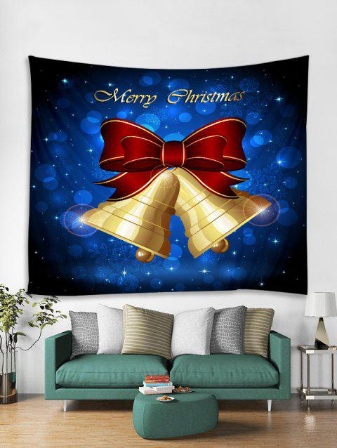 Christmas Bowknot Bells Print Tapestry Wall Hanging - BLUE W91 X L71 INCH