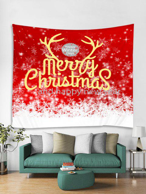 Merry Christmas Snowflakes Print Tapestry Wall Hanging Art - RED W59 X L59 INCH