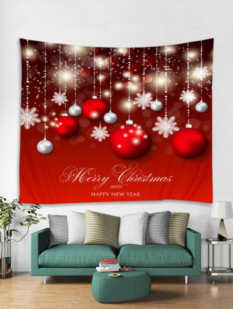 Christmas Balls Snowflakes Print Tapestry Wall Hanging Art - RED W79 X L59 INCH