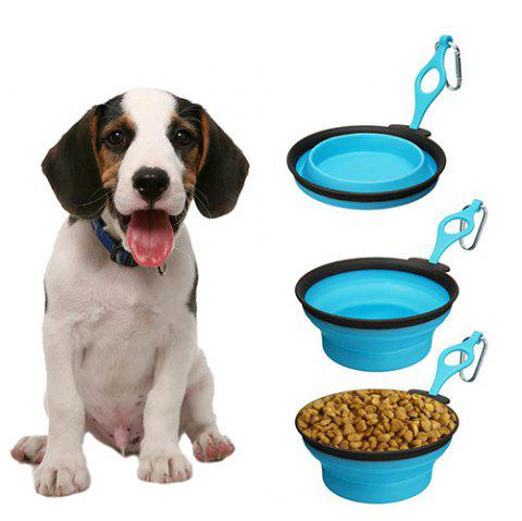 Pet Supplies Silicone Folding Bowl - DEEP SKY BLUE S