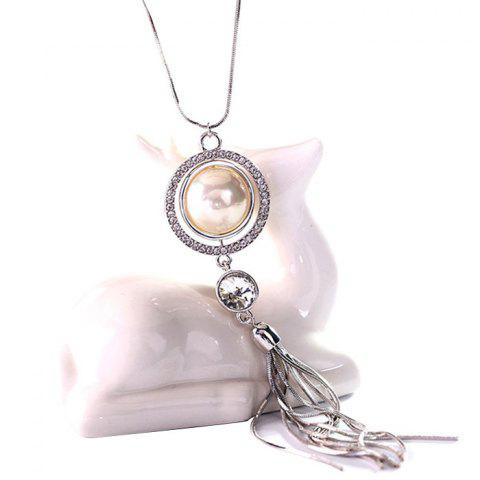 MY - 0011 Pearl Tassel Sweater Chain Long Necklace - SILVER