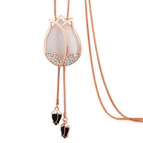 MY - 0009 Tulip Opal Sweater Chain Long Necklace - WHITE
