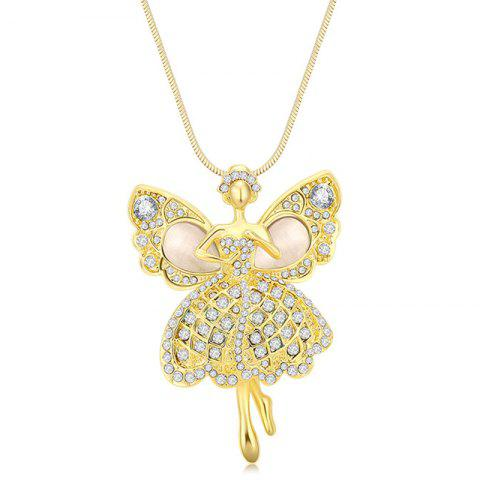 MY-0013 Angel Opal Sweater Chain Long Necklace - GOLD