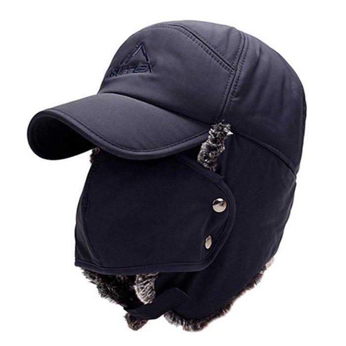 Fashion Big Ear Embroidery Thick Warm Hat for Winter - DEEP BLUE