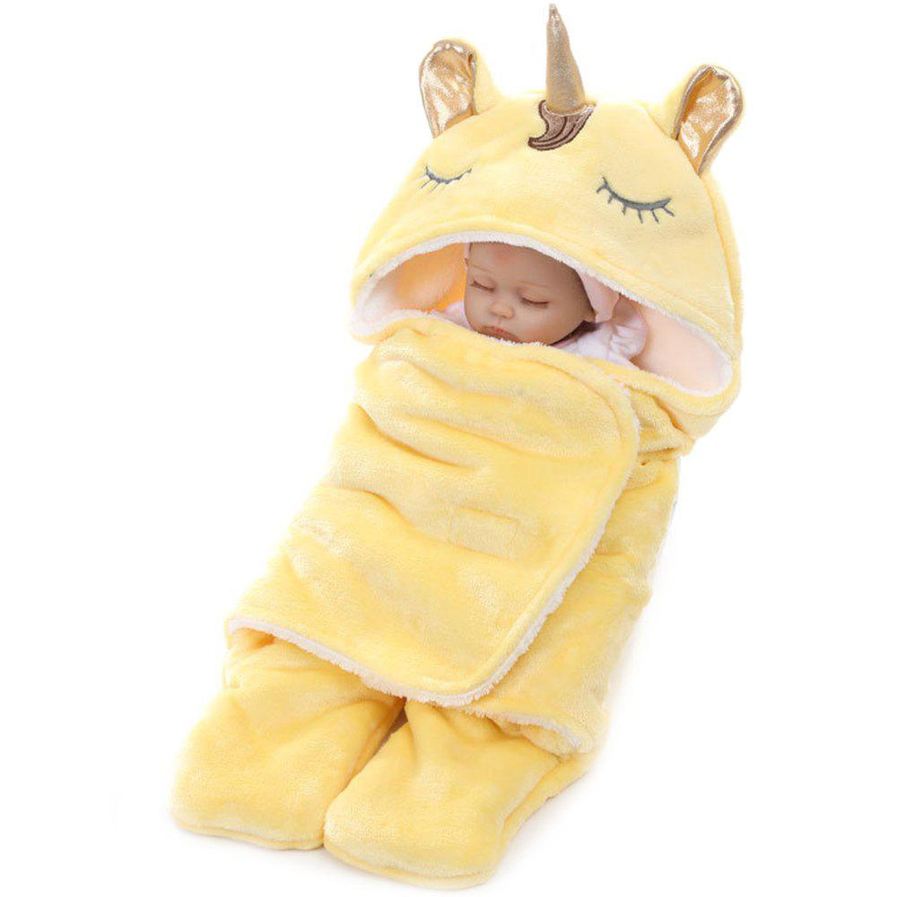 Winter Double Flannel Unicorn Baby Thick Warm Blanket - YELLOW