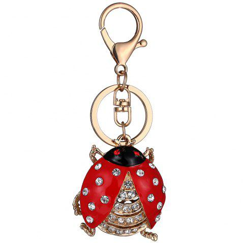 Seven-Star Ladybug Couple Alloy Keychain - CHAMPAGNE GOLD