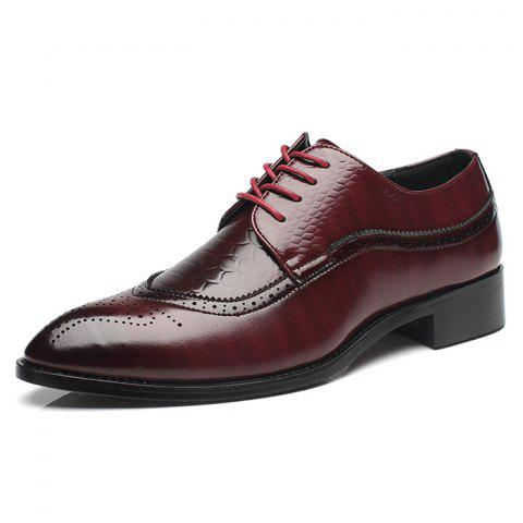 Men's Leather Shoes Bullock Carved Pointed Personality - RED EU 45