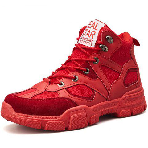 Men Comfortable Leisure Lace-up High-top Boots - RED EU 44