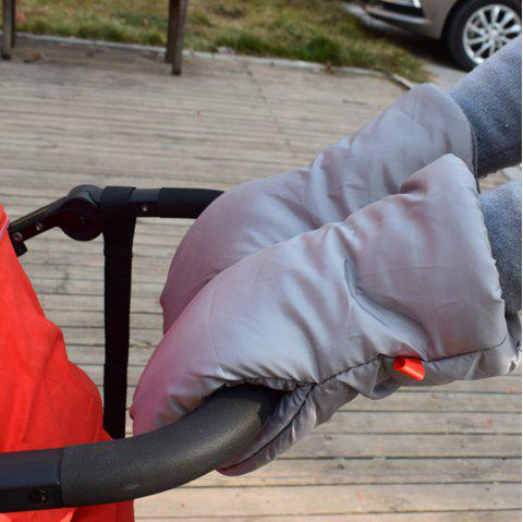 Warm Windproof Antifreeze Protection Plus Velvet Padded Cotton Baby Stroller Gloves - GRAY