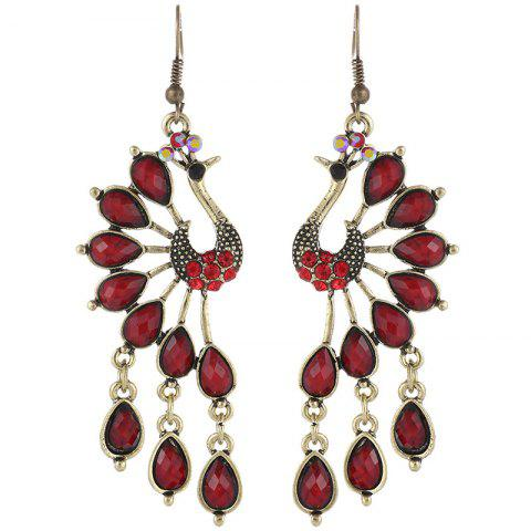 Colorful Acrylic Studded Tassel Long Paragraph Peacock Earrings - RED