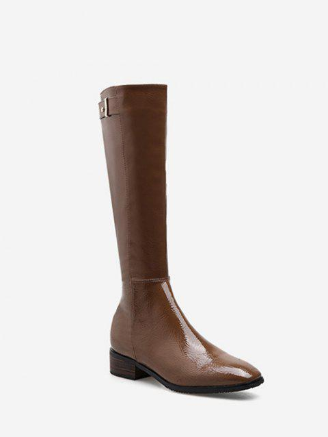 Patent Leather Square Toe Knee High Boots - DEEP COFFEE EU 37
