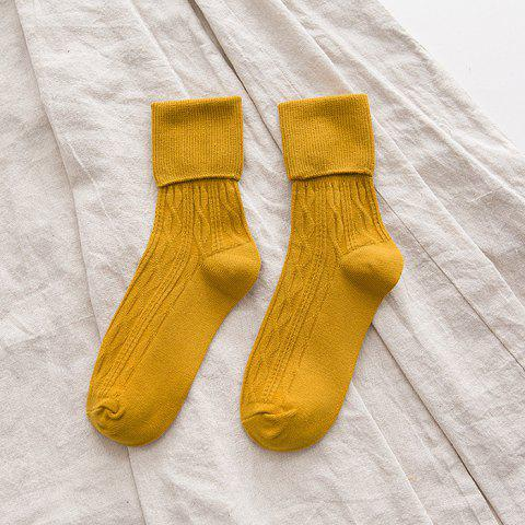 Fashionable Solid Color Loose Socks 4pcs - BEE YELLOW